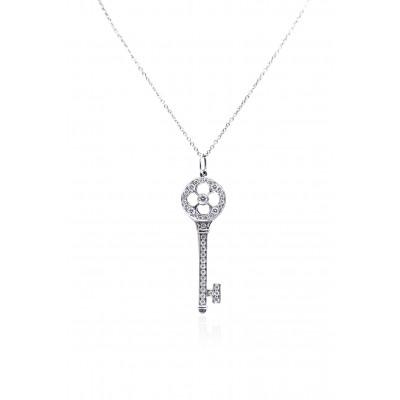 Small Platinum Tiffany Key Pendant
