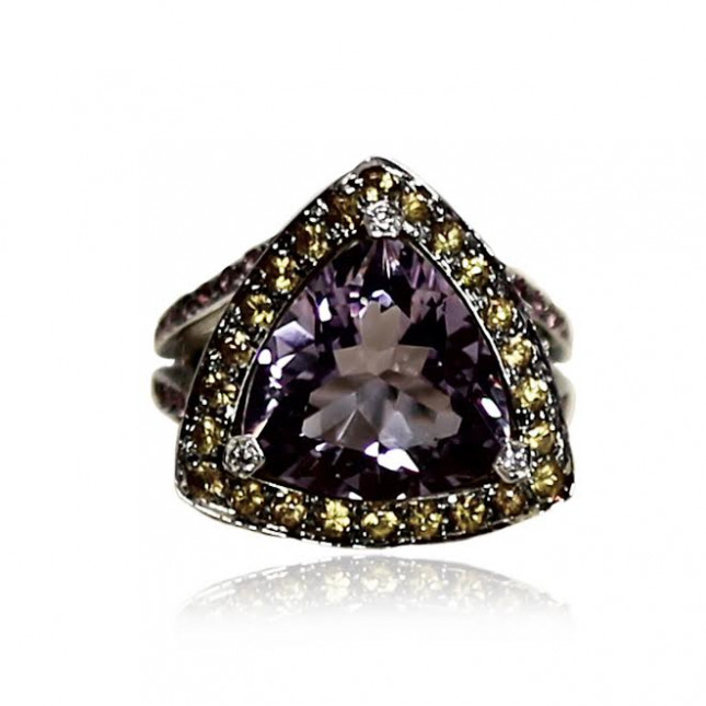 Mauboussin Ring With Trilliant And Brilliant Cut Amethyst And Brilliant Cut Citrines
