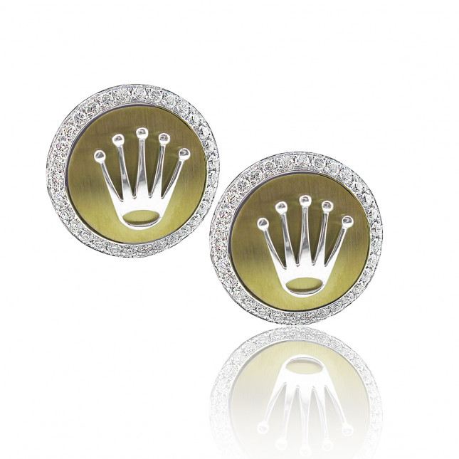 Rolex Design Matt Gold Finish Cufflinks With Brilliant Cut Diamonds