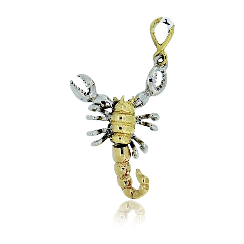 white and yellow gold scorpion pendant