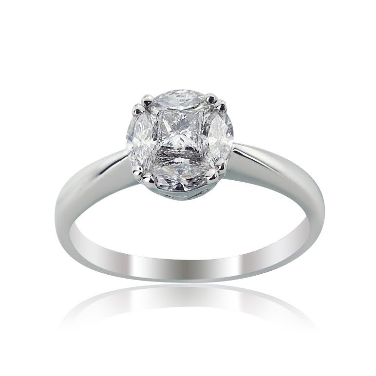white gold princess and marquise engagement ring
