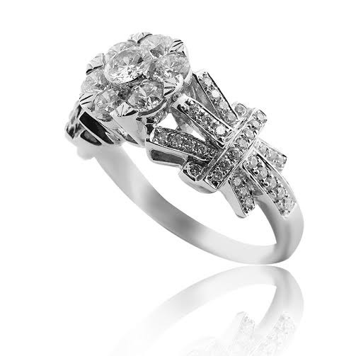 white gold detailed engagement ring with brilliant cut