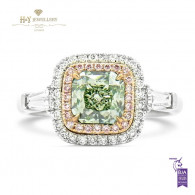 Fancy Green and Pink Diamond Ring , 1.40 ct