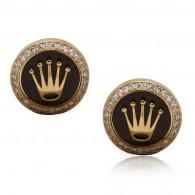 Rolex Design Cufflinks -Rose Gold Brown Enamel With Brilliant Cut Diamonds