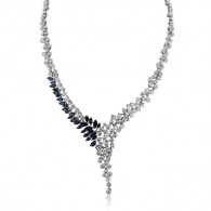 White Gold Sapphire And Diamond Necklace