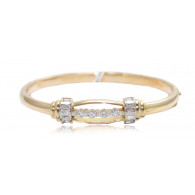 Yellow Gold Bangle With Baguette And Brilliant Cut Diamonds