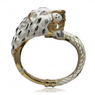 White Gold Snow Leopard Bangle