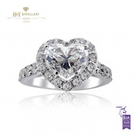 White Gold Heart Engagement Ring - 2.04 ct