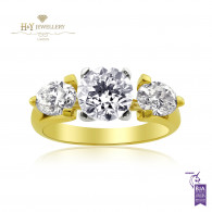 Two Tone Ring with Three Diamonds - 2.35 ct