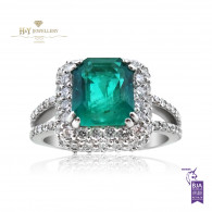 White Gold Bluish Green Emerald Ring with Diamonds - 3.50 ct