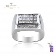 White Gold Mens Ring with Diamonds - 1.48 ct