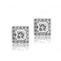 White Gold Diamond Princess Cut Halo Earrings, E-F , VVS2