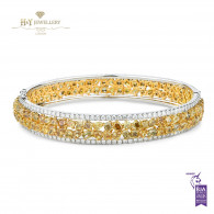 Two Tone Fancy Yellow Diamond Bangle with White  Diamonds - 15.72 ct