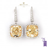 Yellow Cushion Cut Diamond Drop Earrings - 11.56 ct