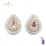Fancy Pink Diamond Stud Earrings with White Diamonds - 0.74 ct