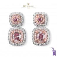 White Gold Fancy Pink Earrings - 1.84 ct