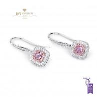 White Gold Fancy Pink Earrings - 0.98 ct