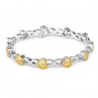 White Gold Fancy Yellow Heart Bracelet - 9.53 ct