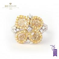 Fancy Yellow Diamond Ring with White Diamonds - 3.21 ct