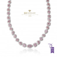 White Gold Fancy Pink Diamond Necklace - 16.11 ct