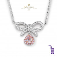 White Gold Bow Necklace With Fancy Pink Diamond - 0.38 ct