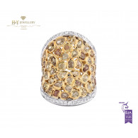 Two Tone Fancy Yellow Diamond Ring with White Diamonds - 6.52 ct