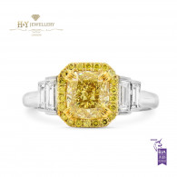 White and Yellow Gold Ring with Fancy Yellow and White Diamonds - 1.97 ct