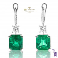 Colombian Emerald Earrings with Diamonds - 18.50 ct