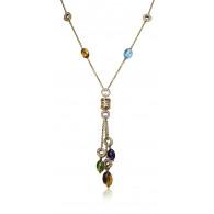 Classic Bvlgari Diamond and Semi Precious Cabochon Bead Necklace