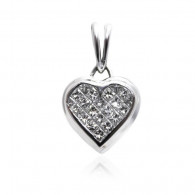 White Gold Heart Shape Pendant With Brilliant Cut Diamonds