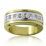 Men's Ring With Brilliant Cut Diamonds in yellow gold