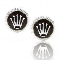 Rolex Design Brown Enamel Cufflinks