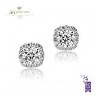 White Gold Diamond Halo Earrings F, SI2