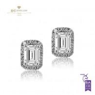 White Gold Diamond Halo Earrings, F-G , IF-VS1