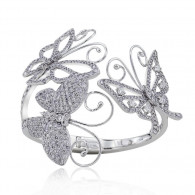 White Gold Butterfly Diamond Open Bangle