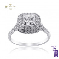 White gold halo engagement ring - D, VVS2