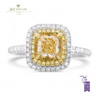 Cushion Cut Fancy Yellow Diamond Ring - 1.73 ct