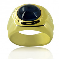 Yellow Gold Mens Ring With A Cabochon Sapphire