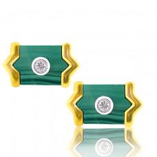 Yellow Gold Malachite Tie Slide And Cufflinks And Brilliant Cut Diamonds