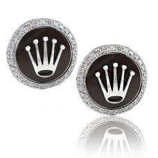 Rolex Design Brown Enamel Cufflinks With Brilliant Cut Diamonds