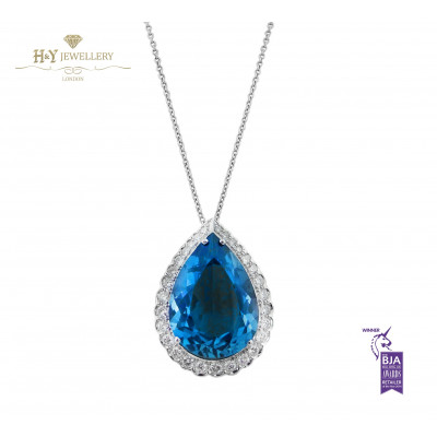 White Gold Pear Cut Blue Topaz Necklace with Diamonds - 11.64 ct