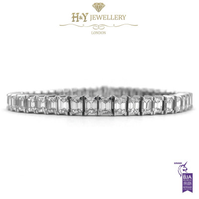 White Gold Emerald Cut Tennis Bracelet - 14.74 ct