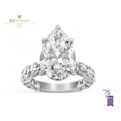 White Gold Pear Cut Diamond Ring with Side Stones - 6.65 ct