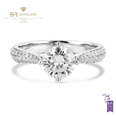 White Gold Brilliant Cut Engagement ring - 1.24 ct