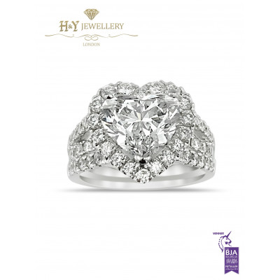 White Gold Flawless Heart Shape Diamond Ring -3.13 D IF Type IIA