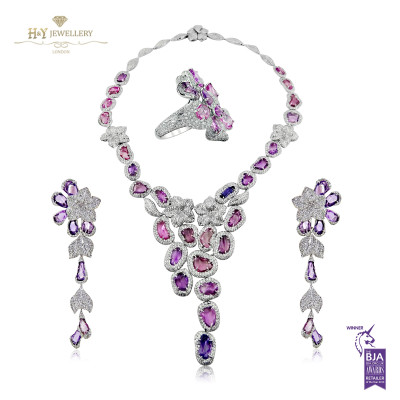 White Gold Fancy Pink and Purple Sapphire Set - 83.30 ct