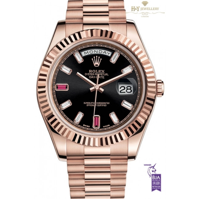 Rolex Day Date II Rose Gold with Rubies and Diamond Rose Gold - ref 218235