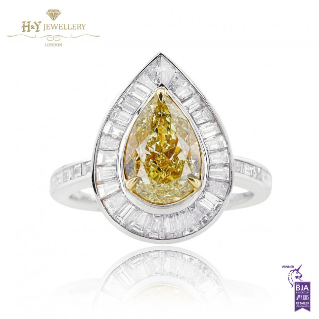 White Gold Pear Cut Fancy Yellow Diamond Ring - 3.08 ct