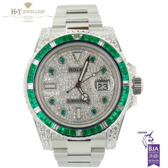 ROLEX SUBMARINER WITH AFTER MARKET DIAMONDS AND EMERALDS - REF 116610LN