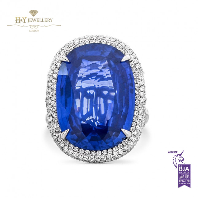 NATURAL SRI-LANKA SAPPHIRE AND DIAMOND RING - 32.35 ct